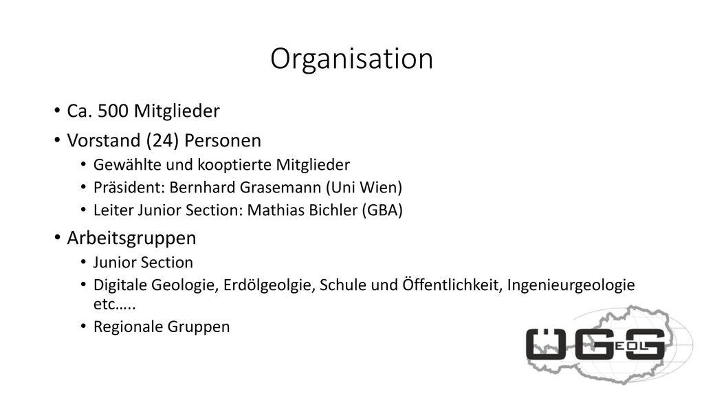 Organisation Ca. 500 Mitglieder Vorstand (24) Personen Arbeitsgruppen