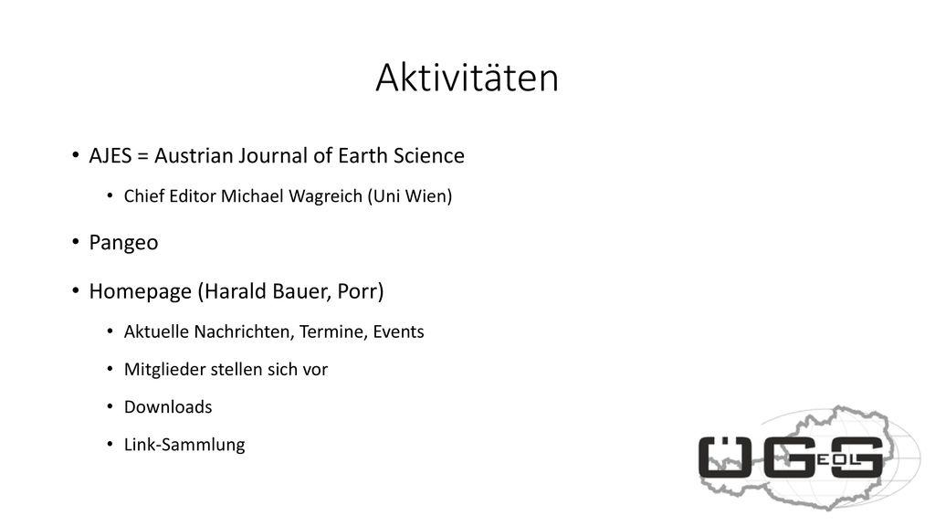 Aktivitäten AJES = Austrian Journal of Earth Science Pangeo