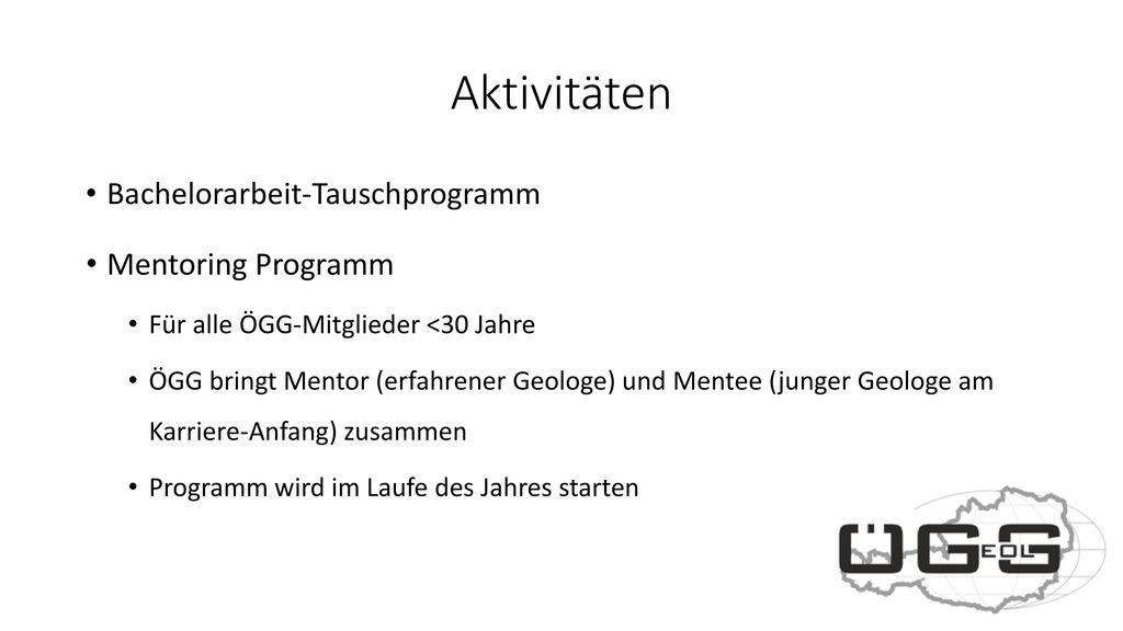 Aktivitäten Bachelorarbeit-Tauschprogramm Mentoring Programm