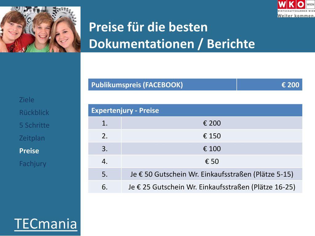Preise für die besten Dokumentationen / Berichte