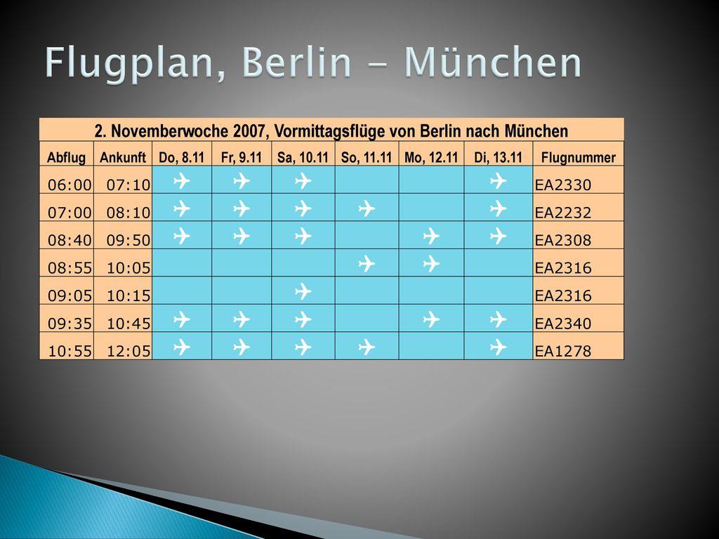 Flugplan, Berlin - München