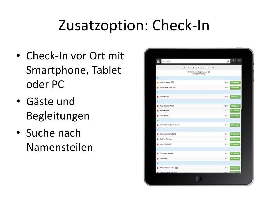 Zusatzoption: Check-In