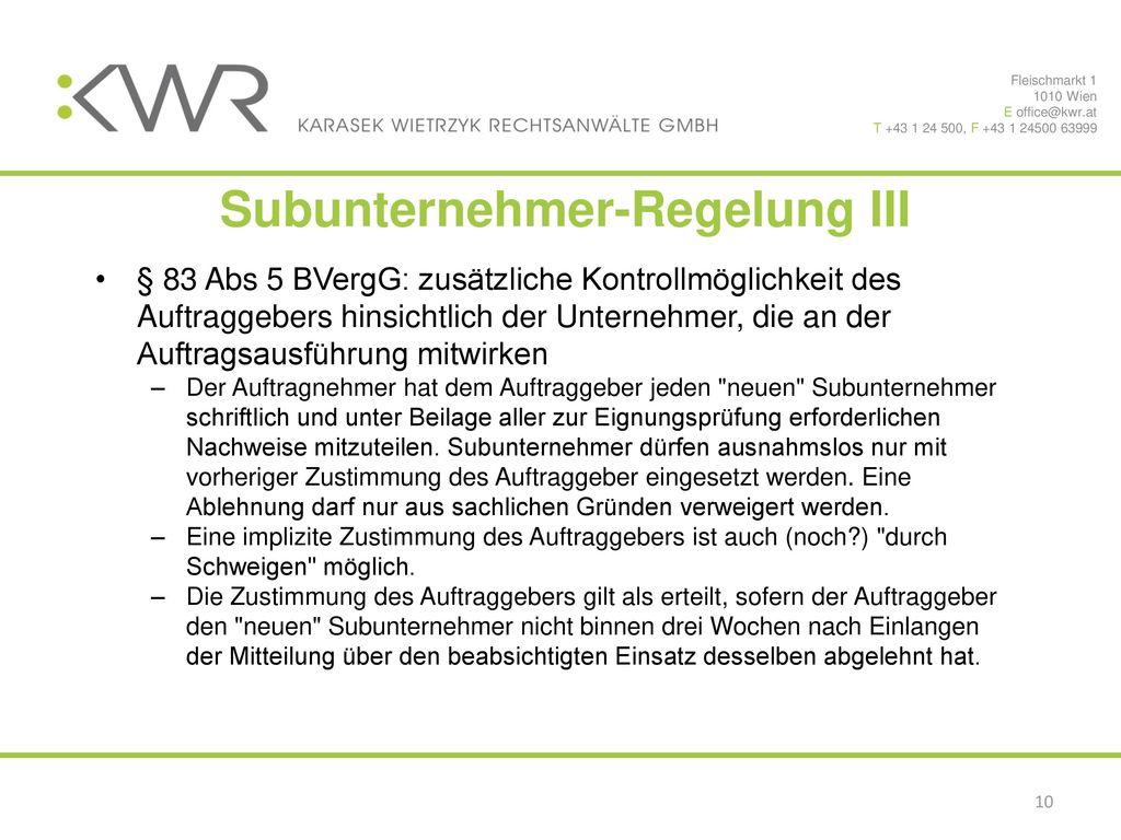 Subunternehmer-Regelung III