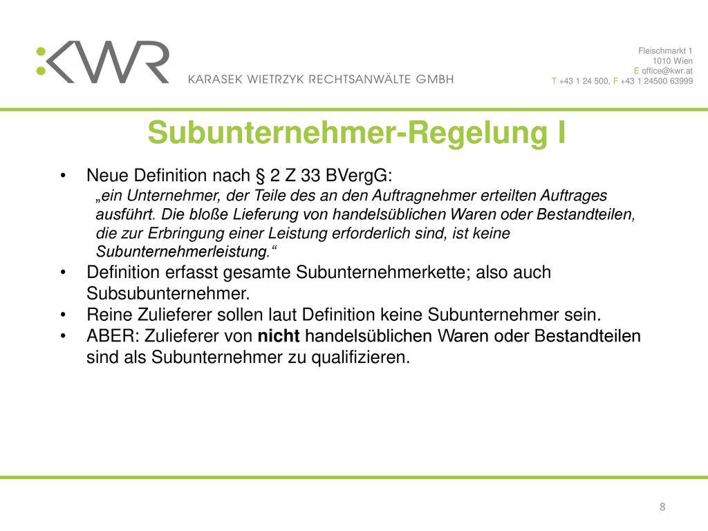 Subunternehmer-Regelung I