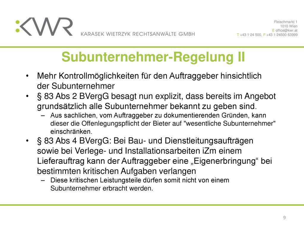 Subunternehmer-Regelung II