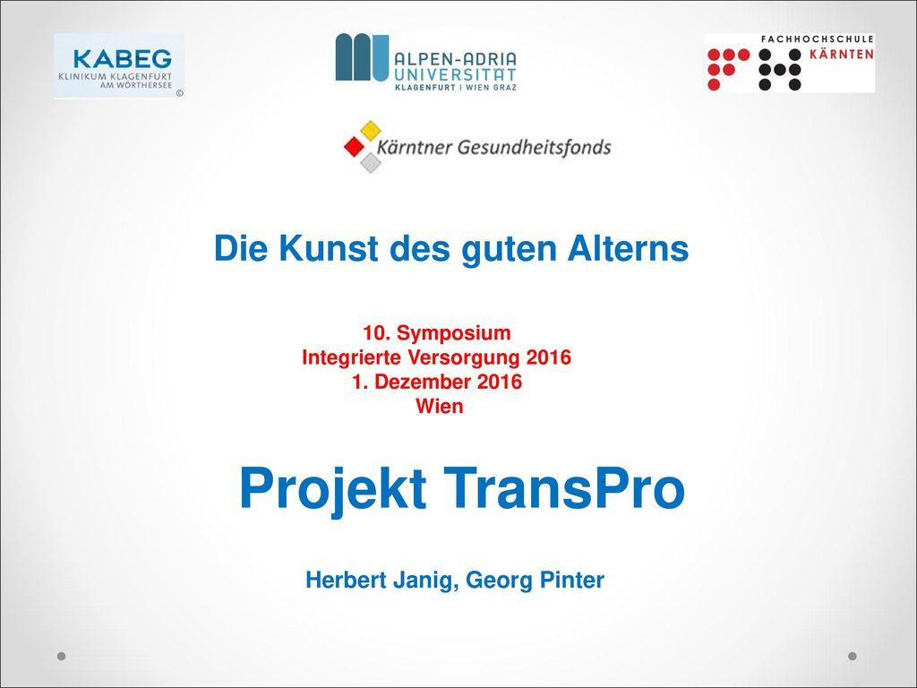 Projekt TransPro Die Kunst des guten Alterns