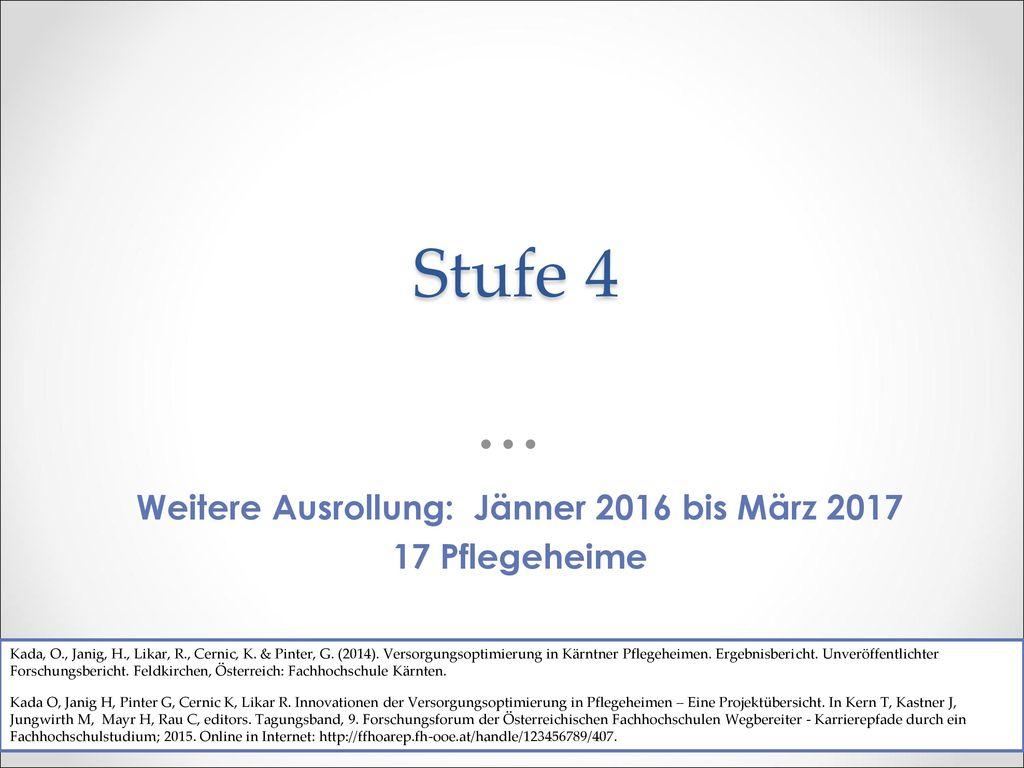 Weitere Ausrollung: Jänner 2016 bis März 2017
