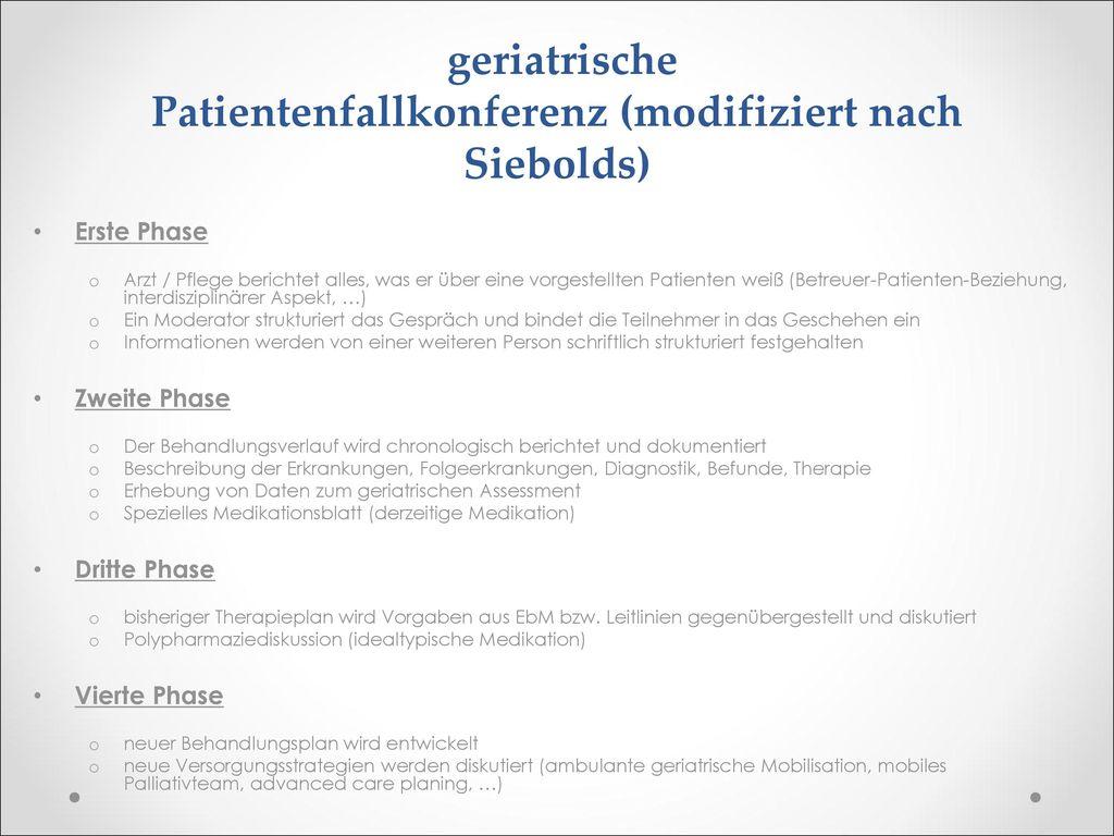 geriatrische Patientenfallkonferenz (modifiziert nach Siebolds)