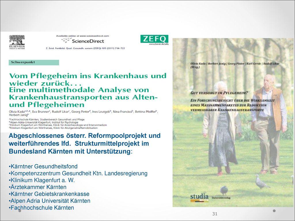 Abgeschlossenes österr. Reformpoolprojekt und weiterführendes lfd