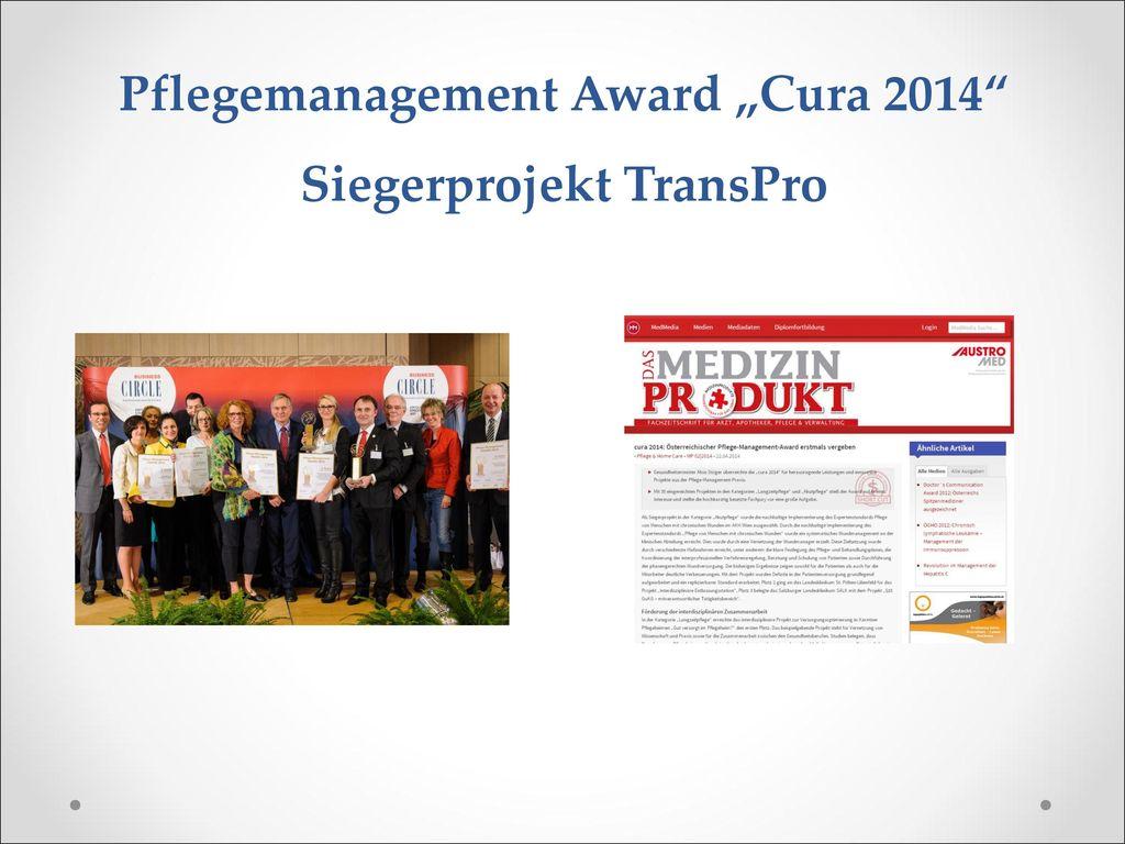 """Pflegemanagement Award """"Cura 2014 Siegerprojekt TransPro"""