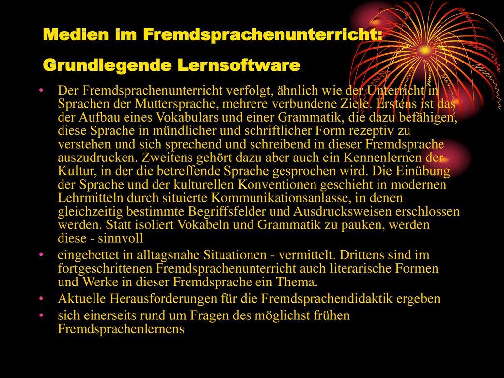 Medien im Fremdsprachenunterricht: Grundlegende Lernsoftware