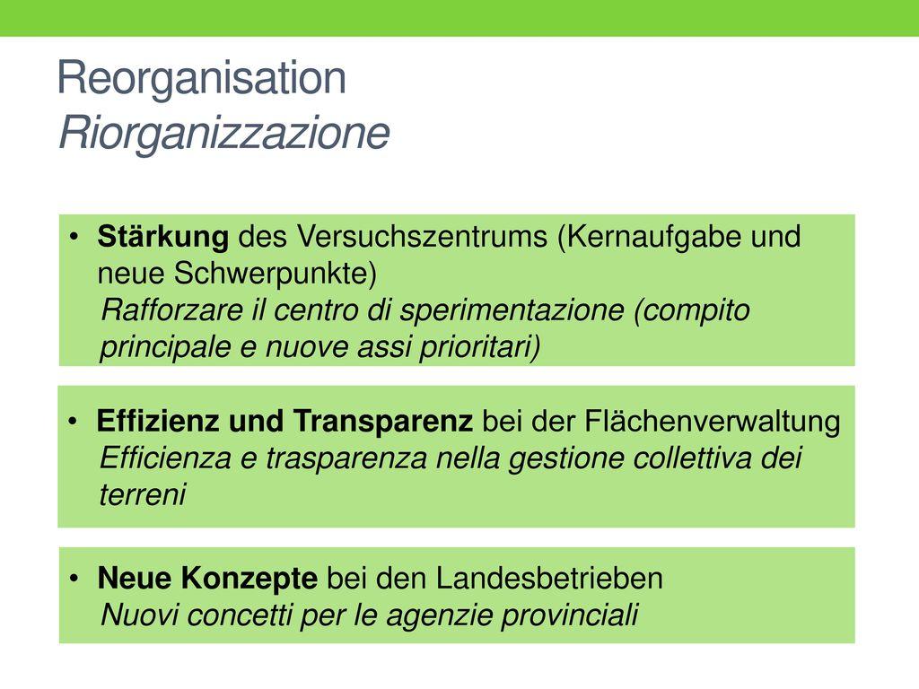 Reorganisation Riorganizzazione