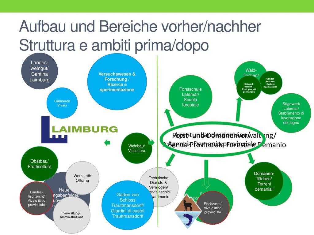 Aufbau und Bereiche vorher/nachher Struttura e ambiti prima/dopo
