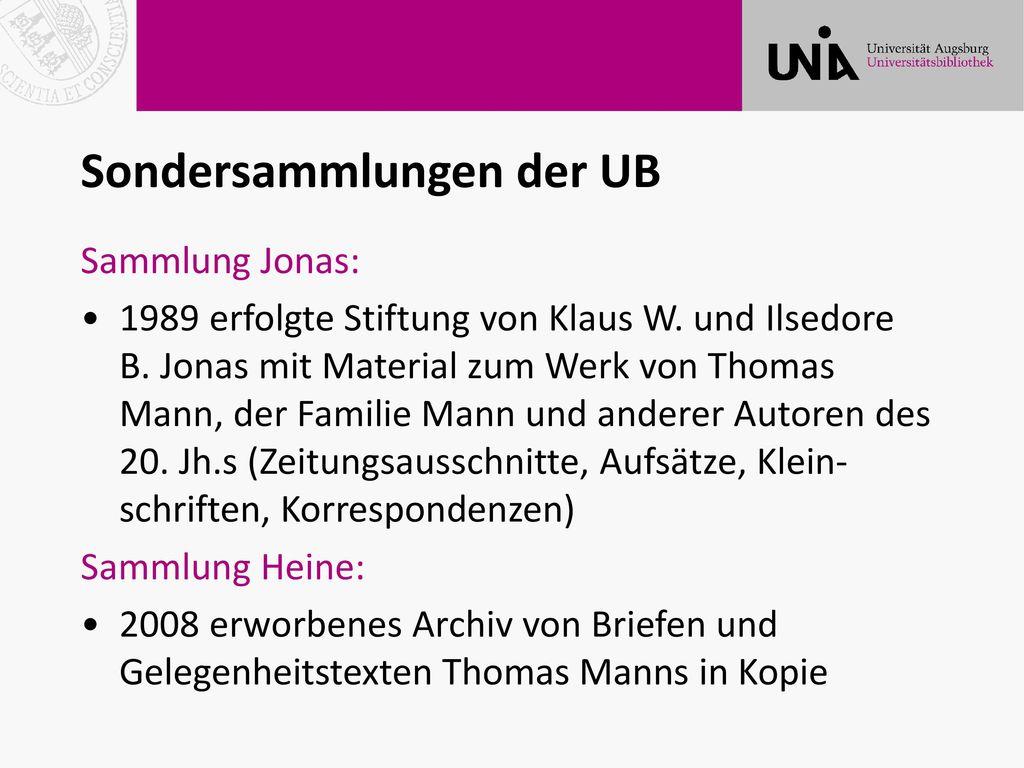 Sondersammlungen der UB