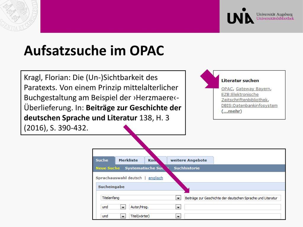 Aufsatzsuche im OPAC