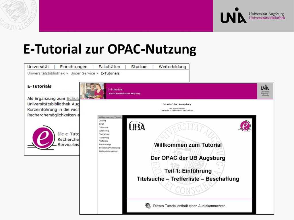 E-Tutorial zur OPAC-Nutzung