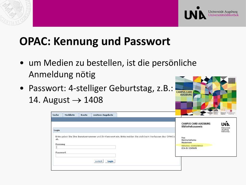 OPAC: Kennung und Passwort