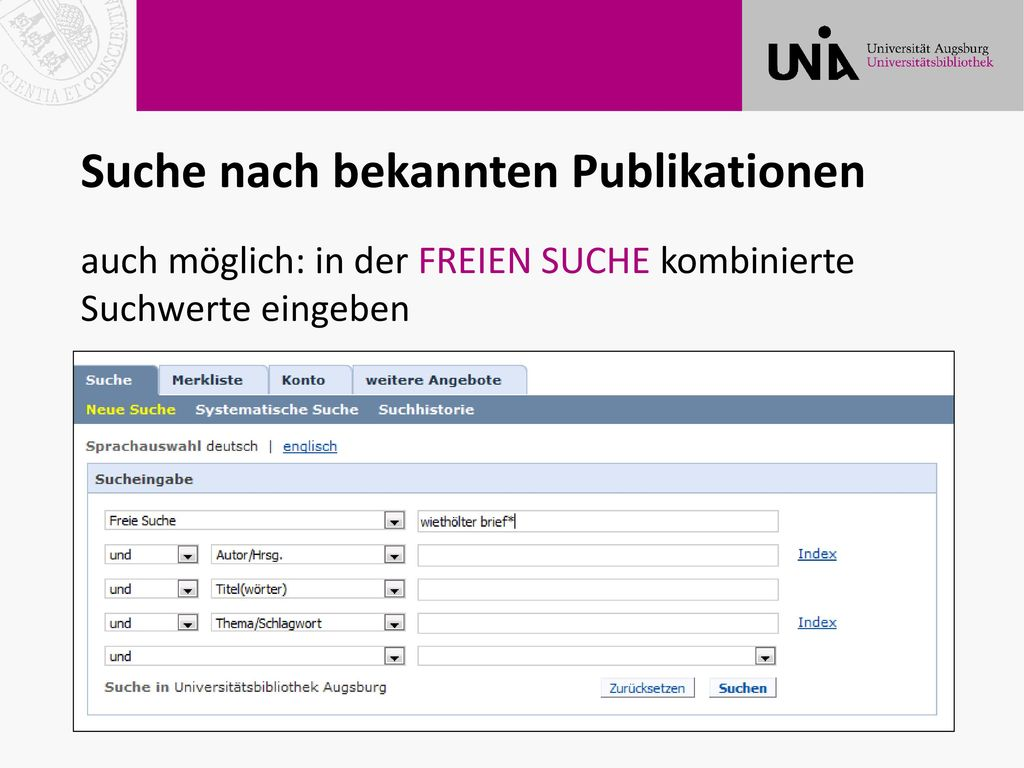 Suche nach bekannten Publikationen