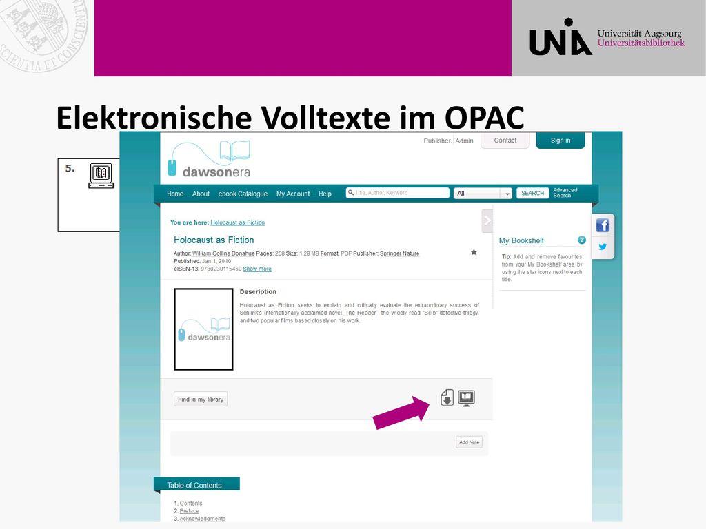 Elektronische Volltexte im OPAC