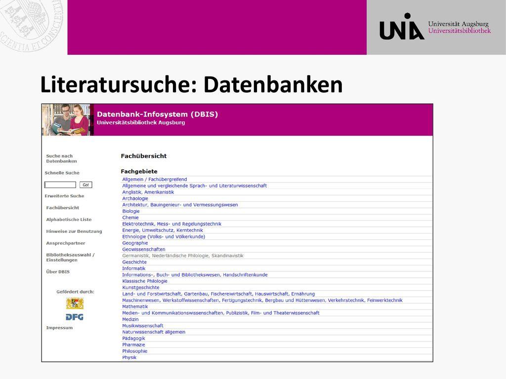 Literatursuche: Datenbanken