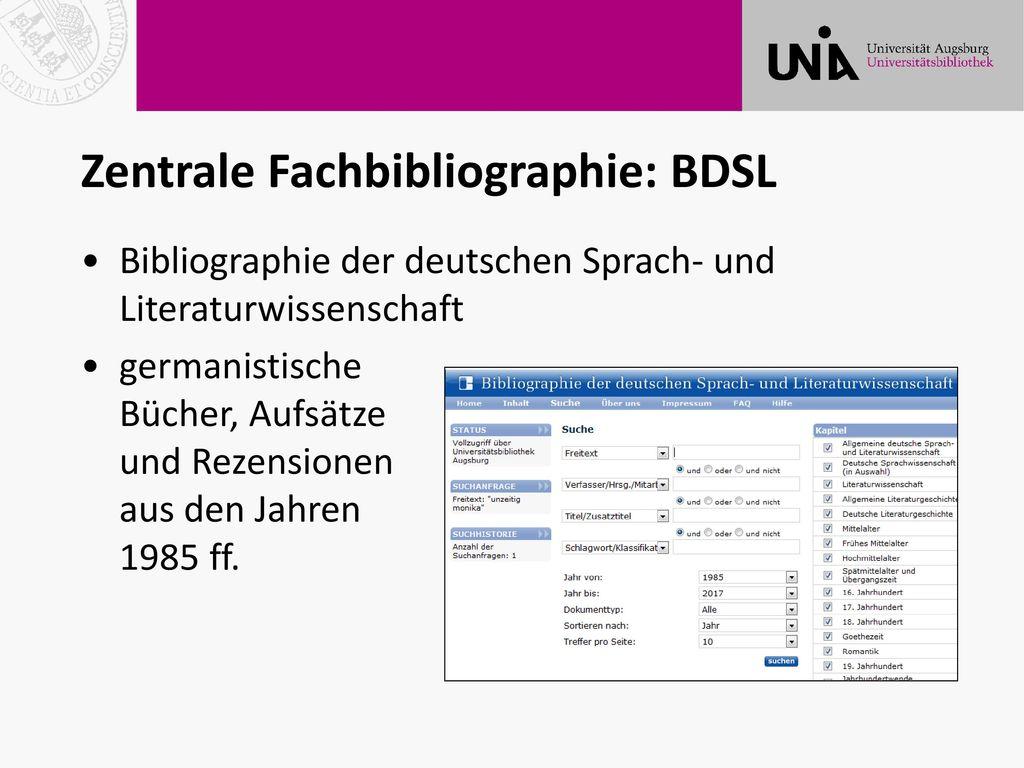 Zentrale Fachbibliographie: BDSL