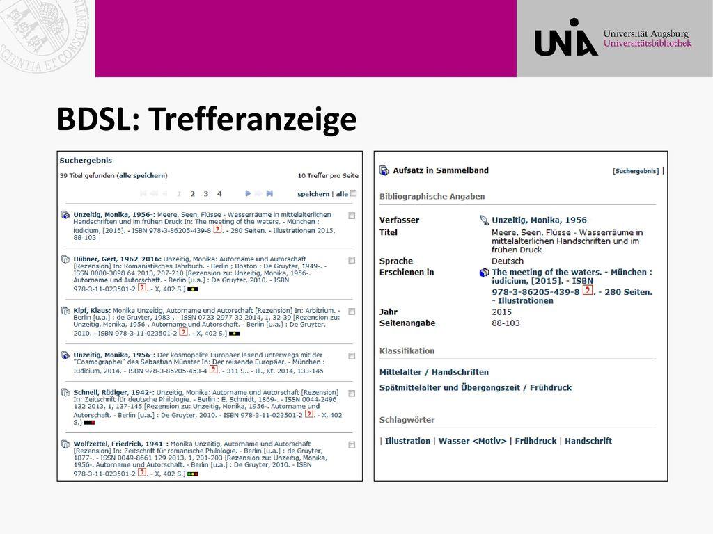 BDSL: Trefferanzeige