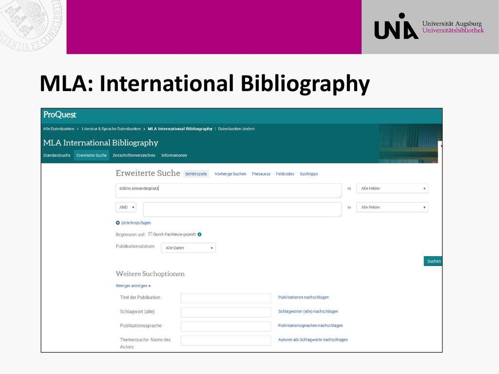 MLA: International Bibliography