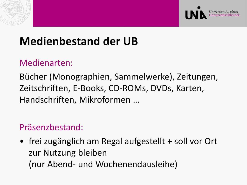 Medienbestand der UB Medienarten: