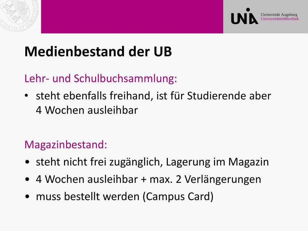 Medienbestand der UB Lehr- und Schulbuchsammlung: