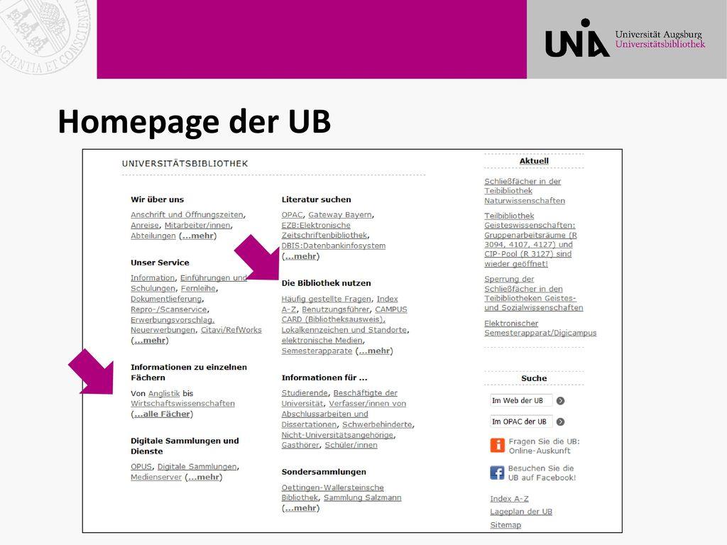 Homepage der UB