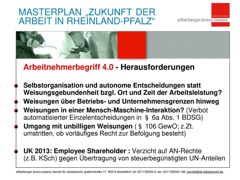 """MASTERPLAN """"ZUKUNFT DER ARBEIT IN RHEINLAND-PFALZ"""