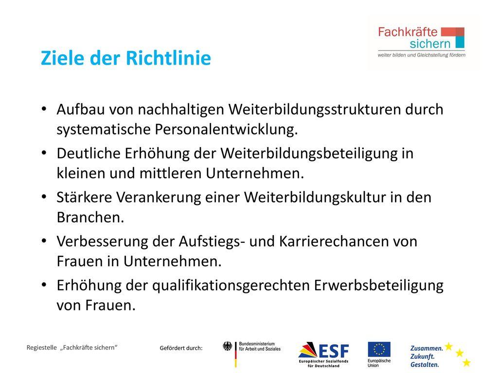 Ziele der Richtlinie Aufbau von nachhaltigen Weiterbildungsstrukturen durch systematische Personalentwicklung.