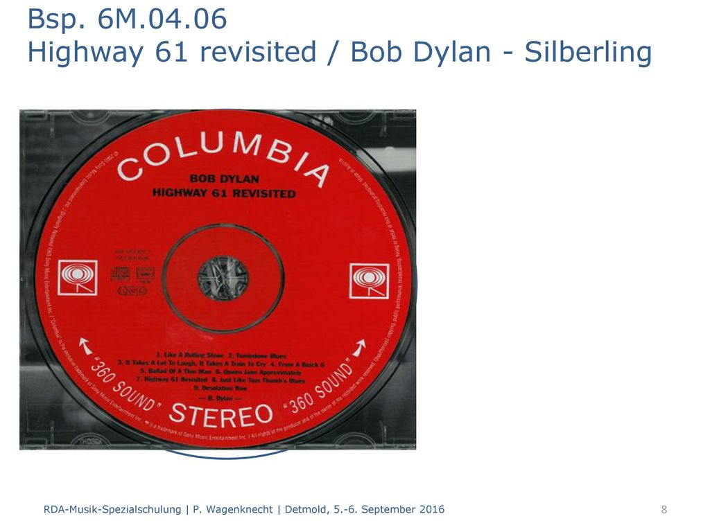 Bsp. 6M Highway 61 revisited / Bob Dylan - Silberling