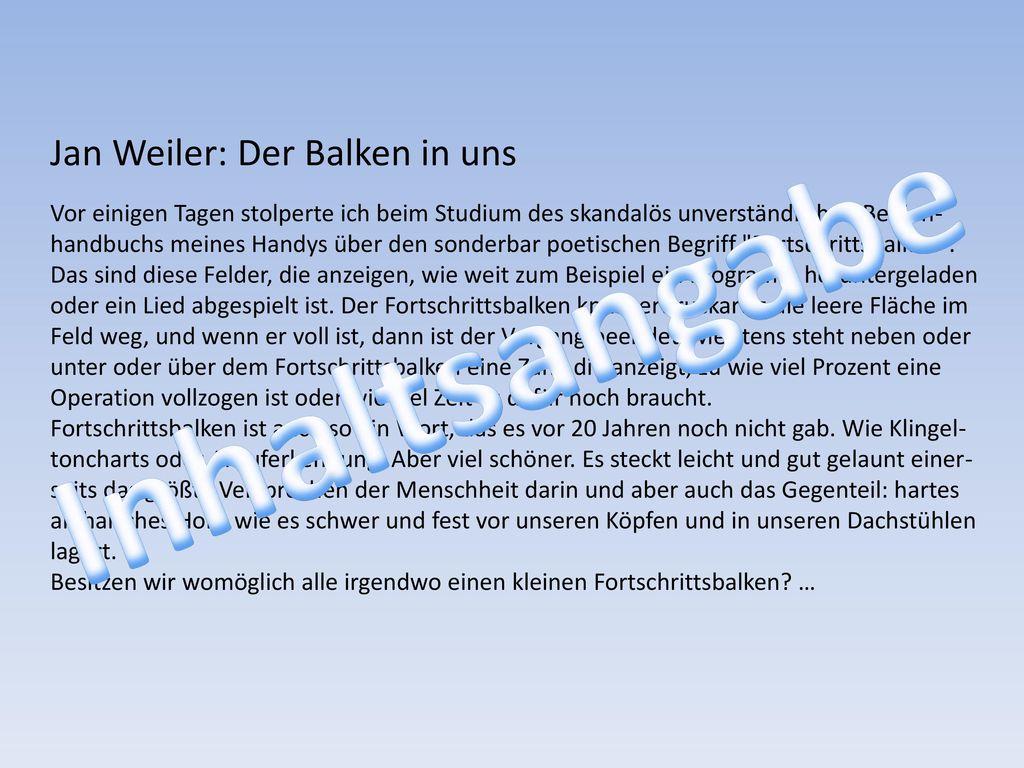 Inhaltsangabe Jan Weiler: Der Balken in uns