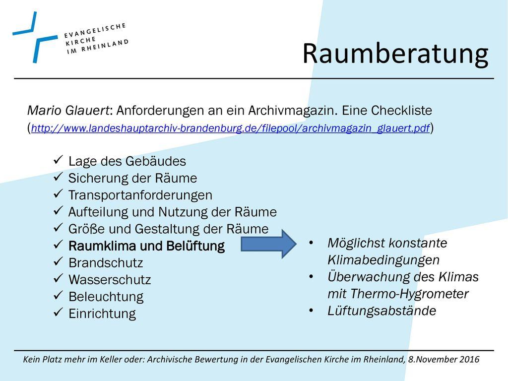 Raumberatung Mario Glauert: Anforderungen an ein Archivmagazin. Eine Checkliste.