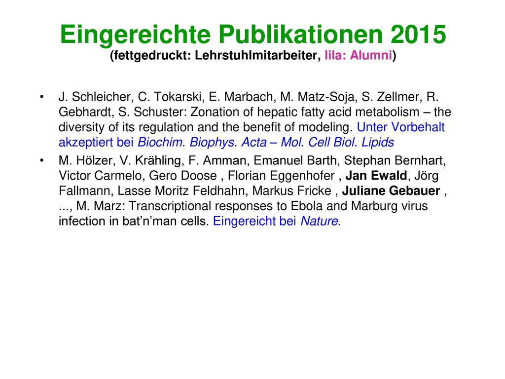 Eingereichte Publikationen 2015 (fettgedruckt: Lehrstuhlmitarbeiter, lila: Alumni)