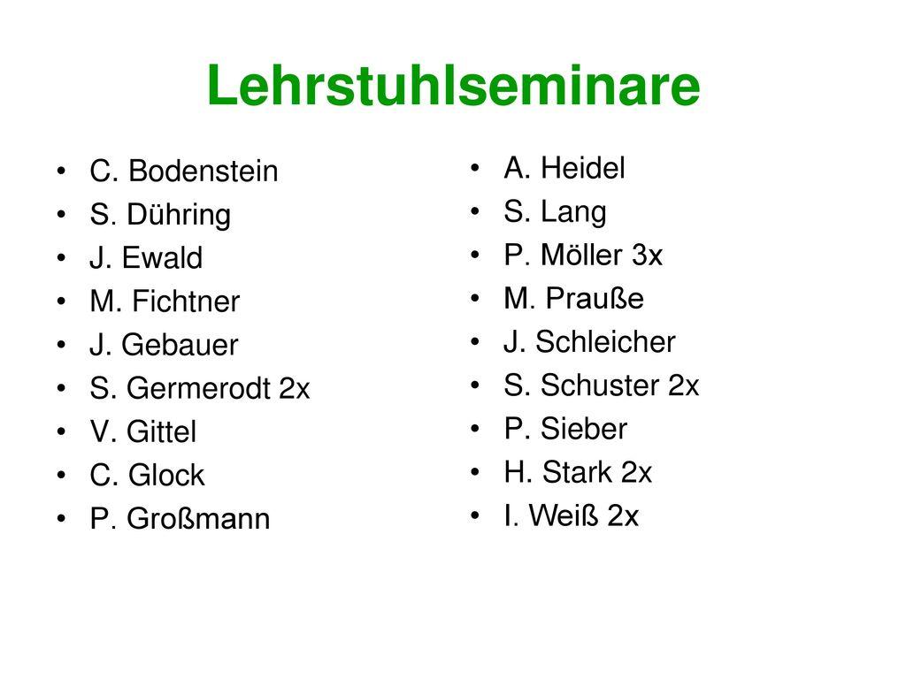 Lehrstuhlseminare A. Heidel C. Bodenstein S. Lang S. Dühring