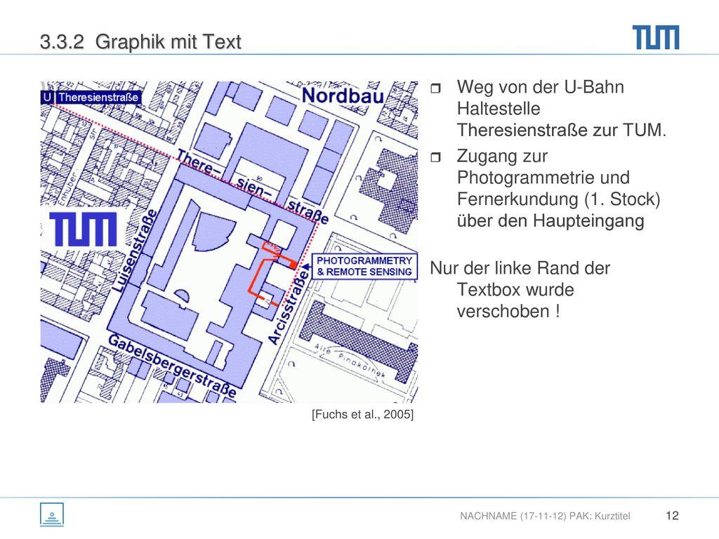 3.3.2 Graphik mit Text Weg von der U-Bahn Haltestelle Theresienstraße zur TUM.