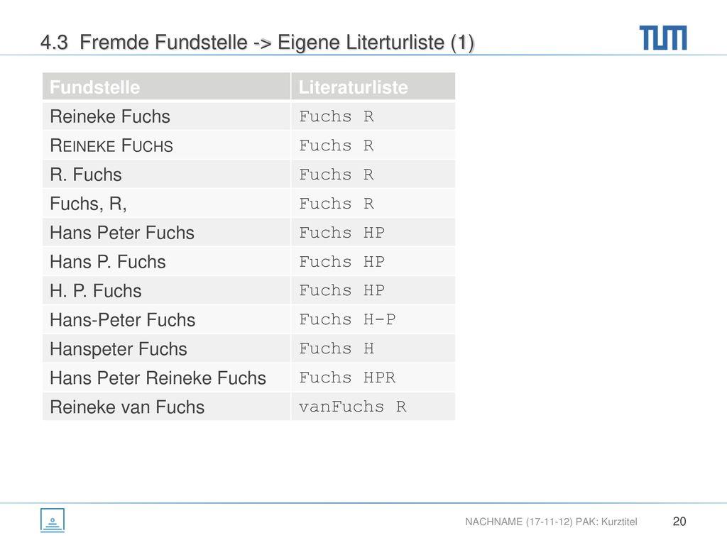 4.3 Fremde Fundstelle -> Eigene Literturliste (1)