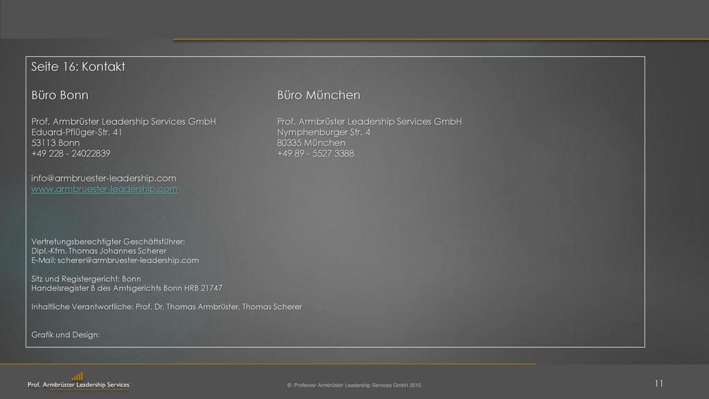 Seite 16: Kontakt Büro Bonn Büro München