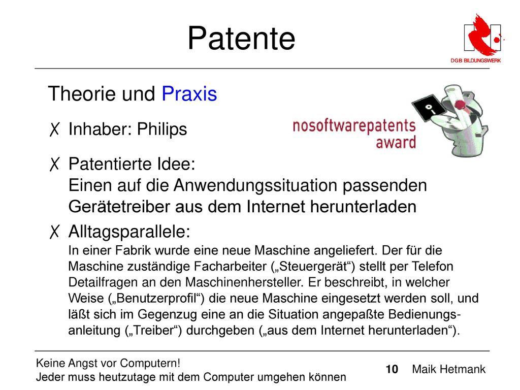 Patente Theorie und Praxis Inhaber: Philips