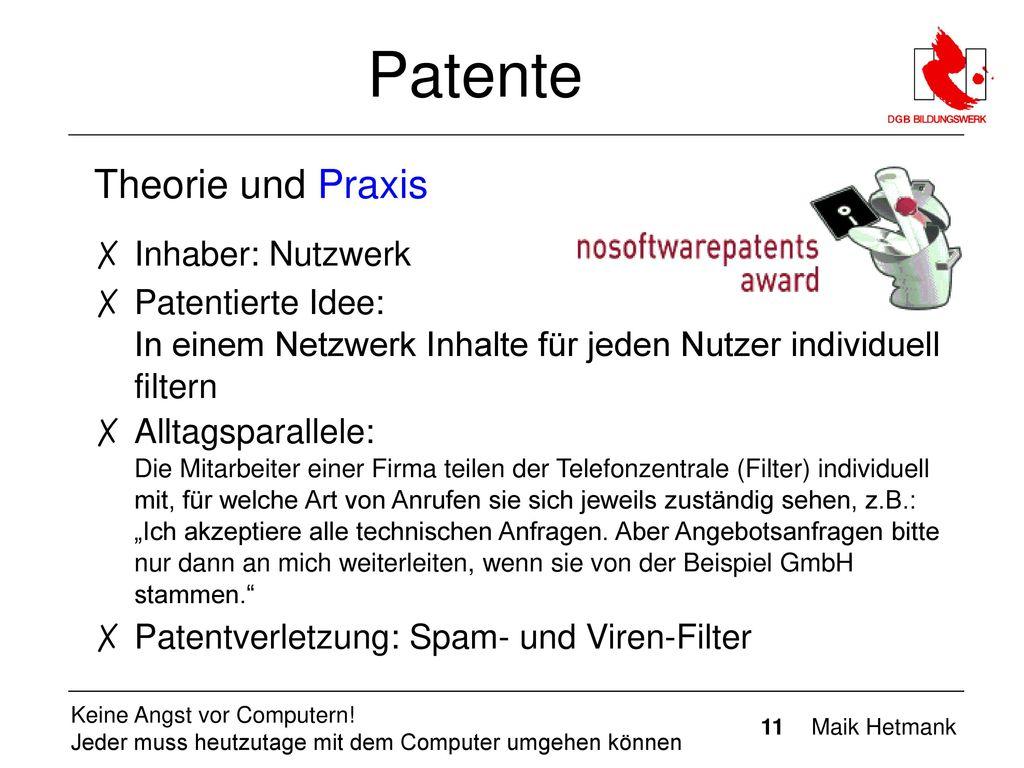 Patente Theorie und Praxis Inhaber: Nutzwerk