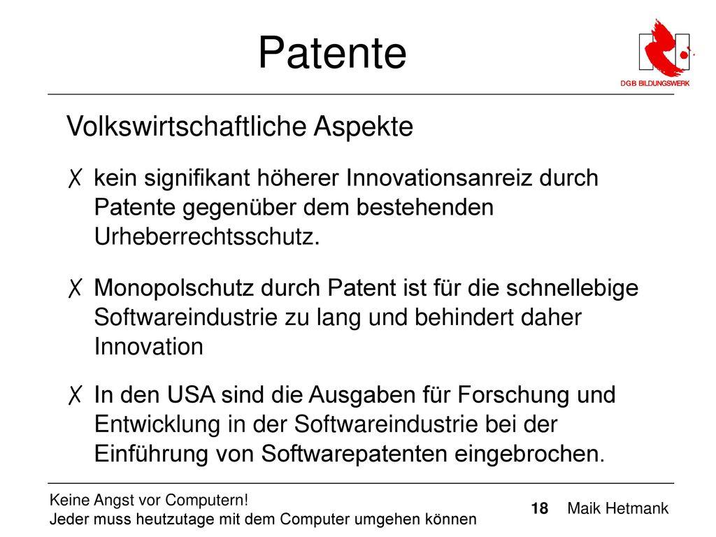 Patente Volkswirtschaftliche Aspekte