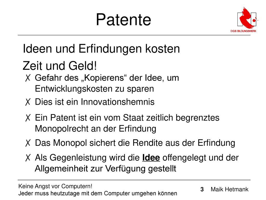Patente Ideen und Erfindungen kosten Zeit und Geld!