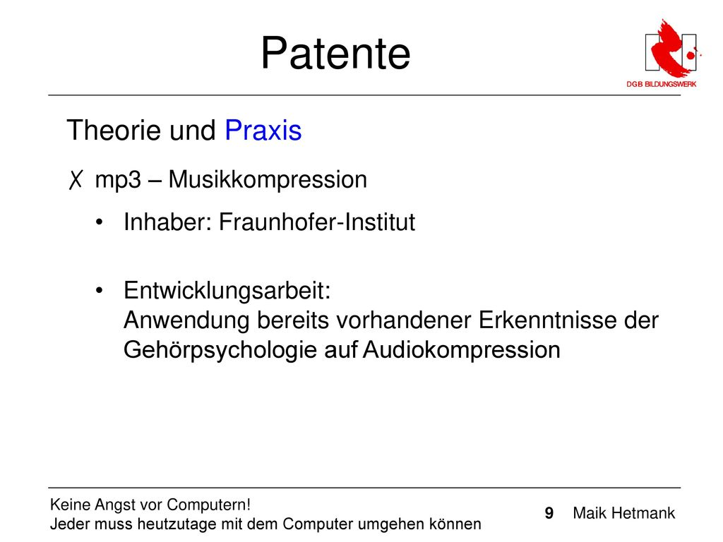 Patente Theorie und Praxis mp3 – Musikkompression