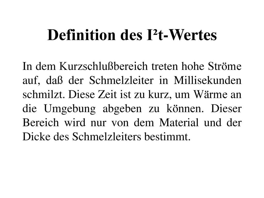 Definition des I²t-Wertes