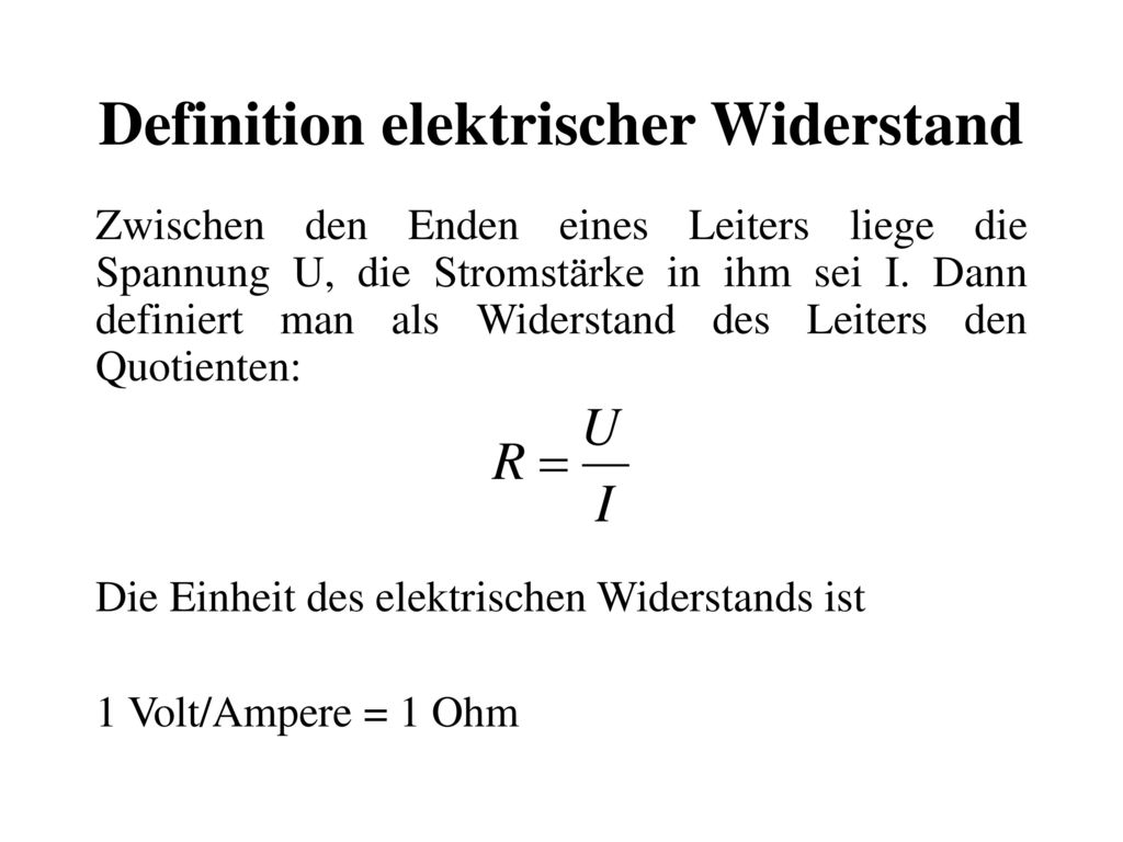 Definition elektrischer Widerstand