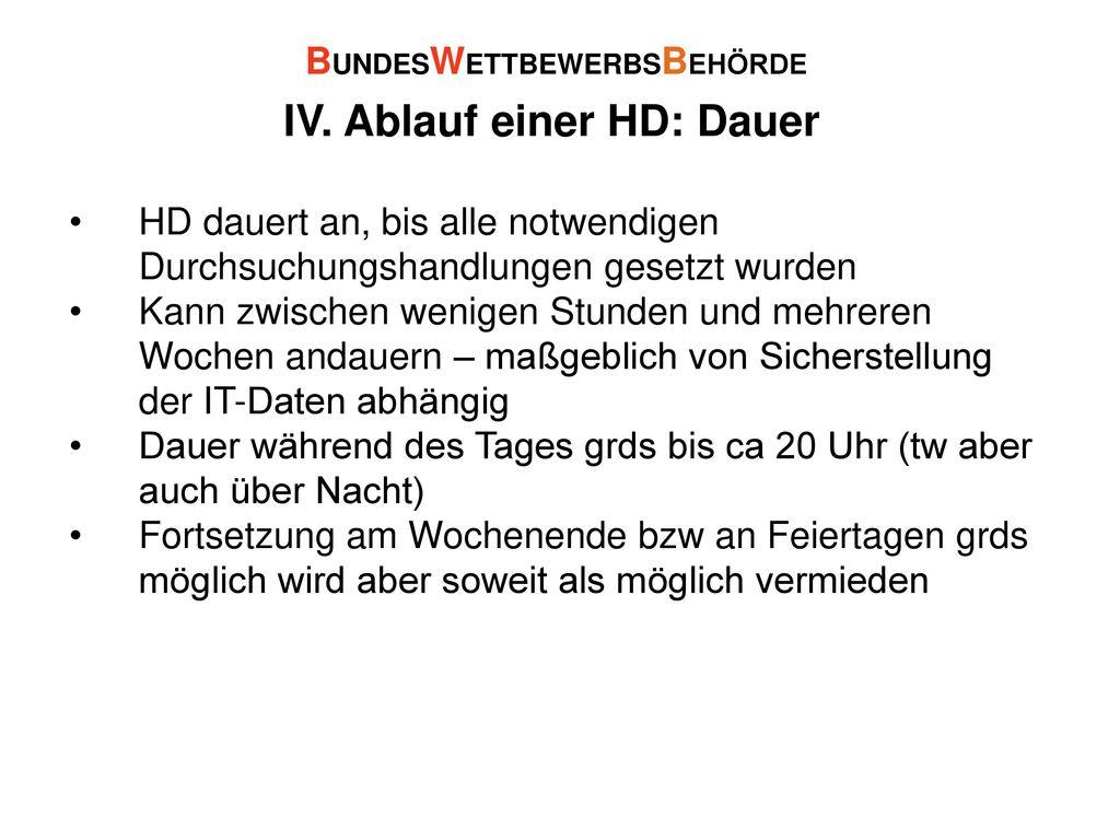 IV. Ablauf einer HD: Dauer