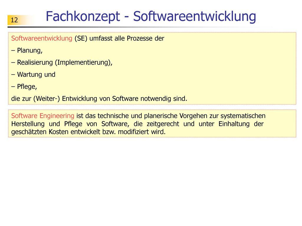 Fachkonzept - Softwareentwicklung