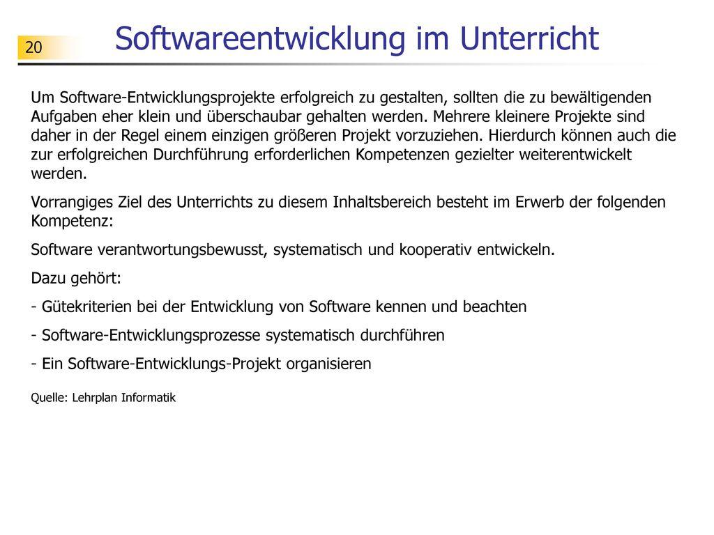 Softwareentwicklung im Unterricht